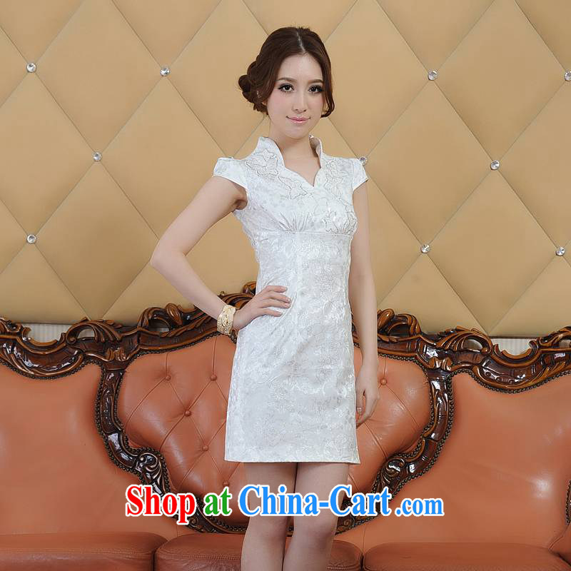 contemporary poetry's summer 2015 new elegant embroidered girls dresses classic and elegant short-sleeved dresses qipao Q Q 00,228 26,688 white M