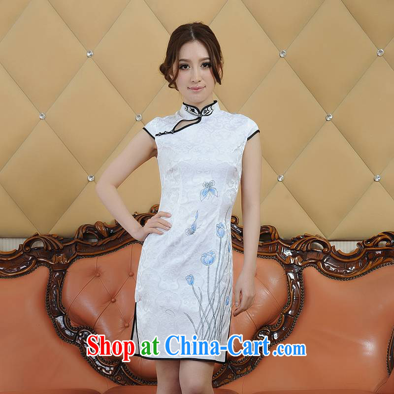 ADDIS ABABA, Ms Elsie Leung's summer 2015 new, sophisticated embroidery retro short-sleeved dresses qipao 4 4 color Q 02,206 White - Black Edge XXL