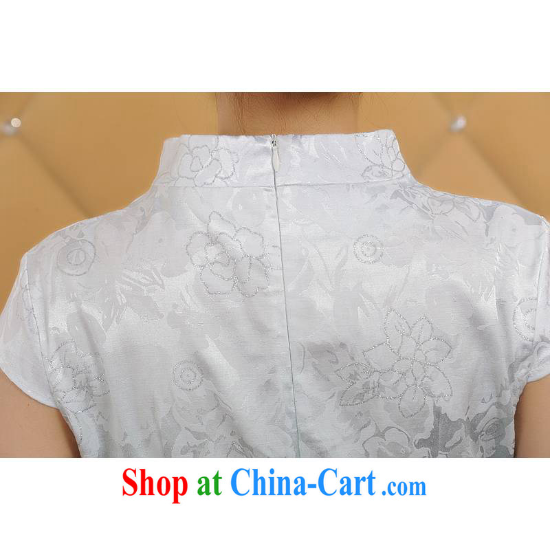ADDIS ABABA, Ms Elsie Leung at the Summer 2015 new female fine printing and dyeing gradient retro short-sleeved qipao Q 12,208 green XXL, poetry D (BesoVand), online shopping