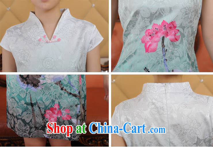 Addis Ababa poetry's summer 2015 New Women, fine printing and dyeing gradient retro short-sleeved qipao Q 12,208 green XXL pictures, price, brand platters! Elections are good character, the national distribution, so why buy now enjoy more preferential! Health