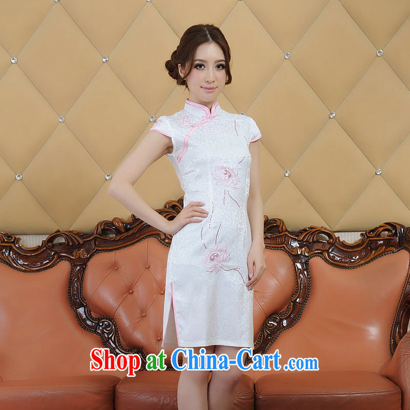 ADDIS ABABA, Ms Elsie Leung's new summer, silk dyeing and printing embroidery retro short-sleeve dresses qipao 9 color optional Q 12,006 white XXL
