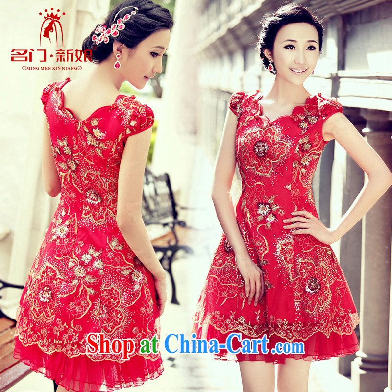The bride's short red cheongsam qipao improved new outfit 852 L