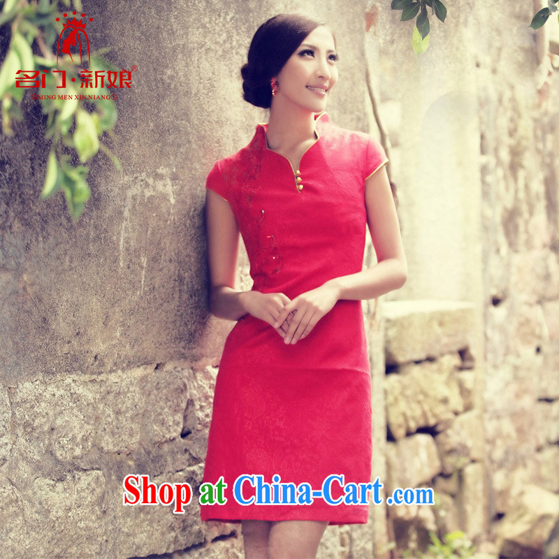 The bride's wedding dresses new summer uniforms toast short qipao 837 red M