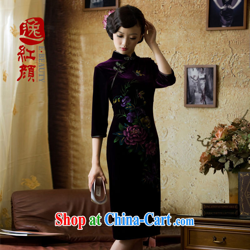 The proverbial hero once and for all, as soon as possible only in autumn cuff hand-painted high quality gold velour cheongsam retro autumn and winter 7 cuff purple 2 XL
