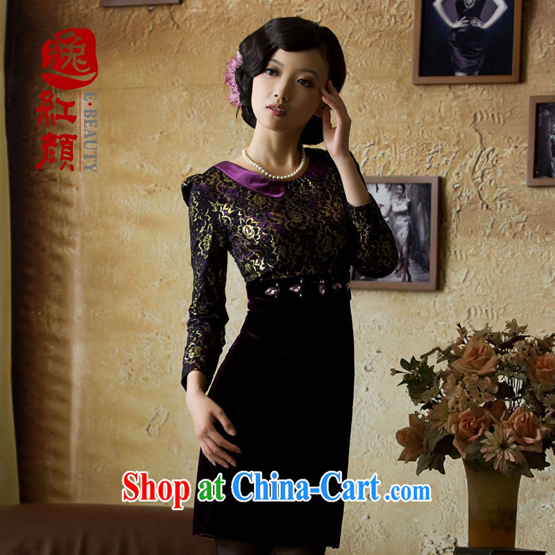 The proverbial hero once and for all Hong Kong as soon as possible depression improved Stylish retro long-sleeved gold velour cheongsam 2015 autumn new dresses, purple skirt 2 XL
