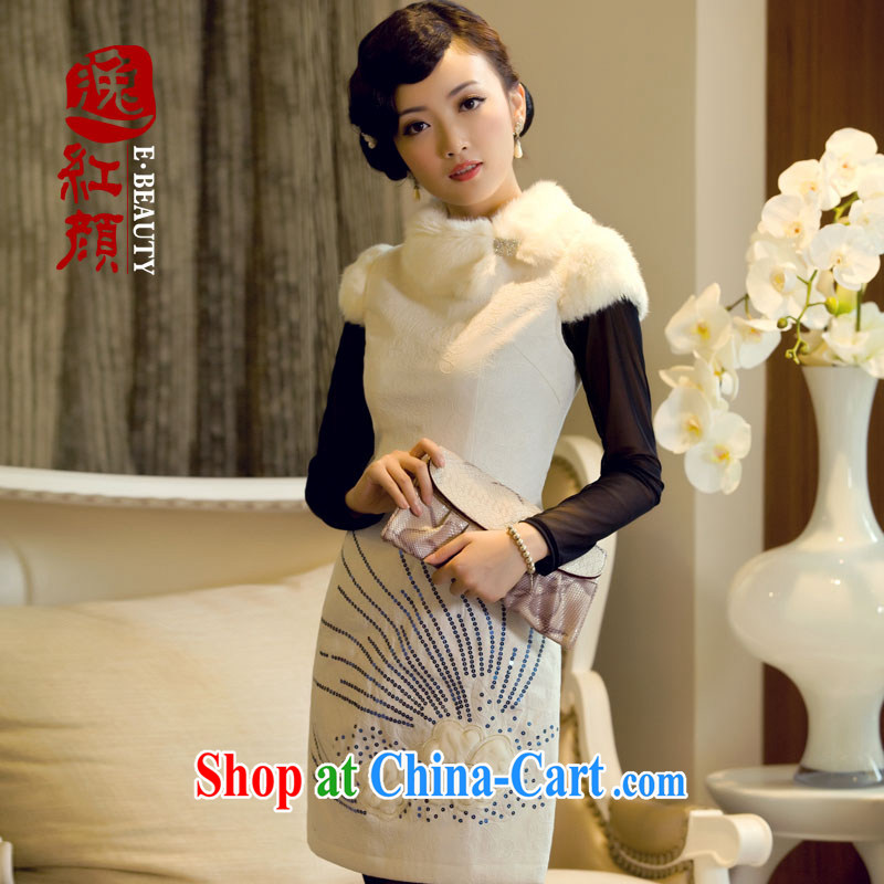 once and for all elections as soon as possible without wind cold snow embroidery 3-Color daily outfit skirt fall and winter fashion with improved retro waffle robes white 2XL