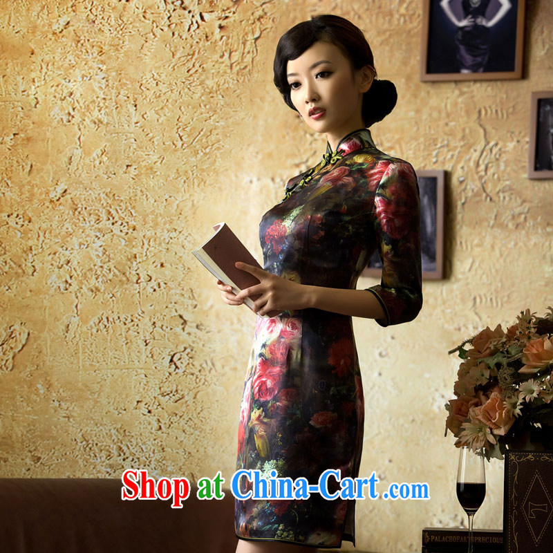 The proverbial hero once and for all -- Kam Joseph heavy Silk Dresses 2015 new upscale summer stylish improved cheongsam dress suit 2 XL