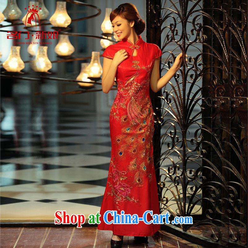The new bride, wedding dresses retro long cheongsam red toast serving 253 L