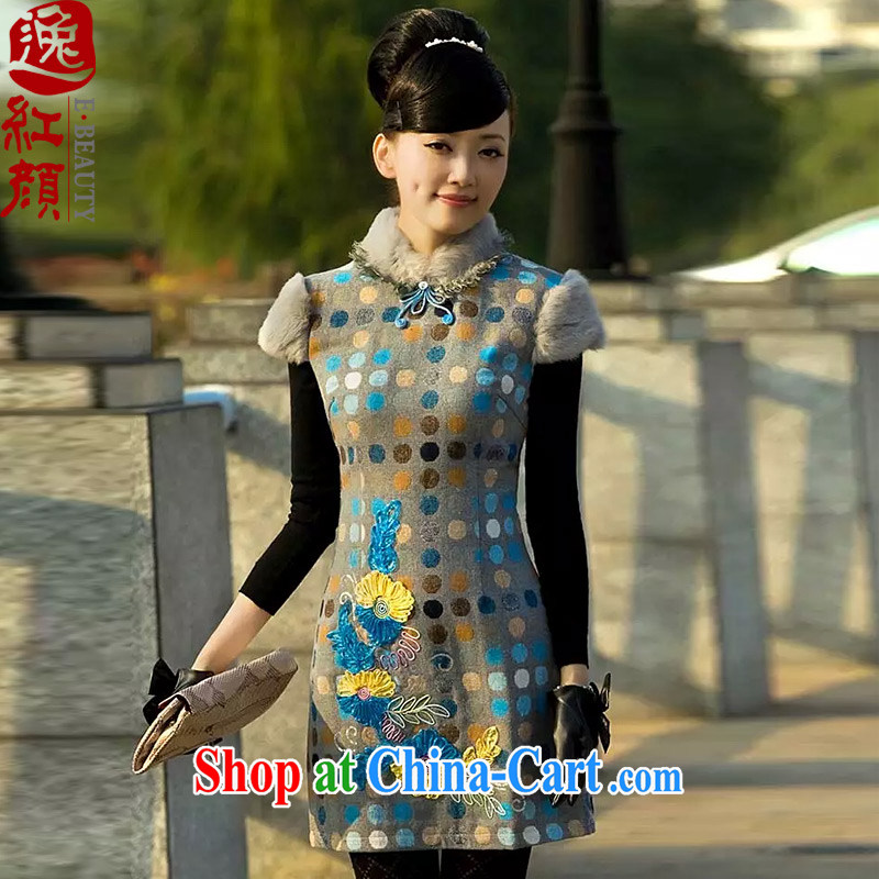once and for all and fatally jealous Qinyang original qipao winter new rabbit hair for hair is short, new and improved, Retro cheongsam dress suit autumn M
