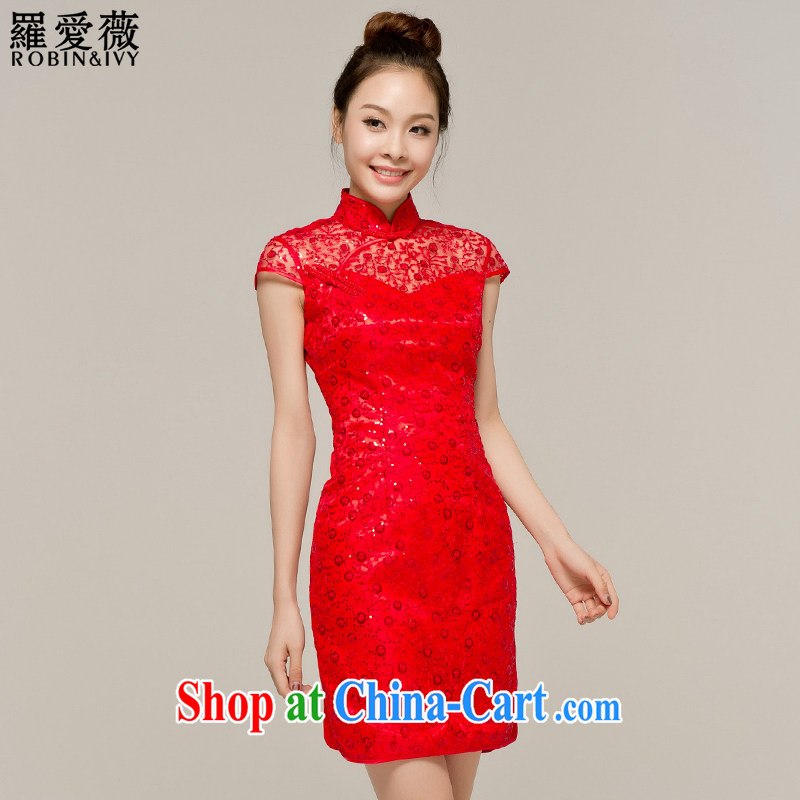Paul love Ms Audrey EU Yuet-mee, RobinIvy_ bride Chinese improved cheongsam dress dresses 2015 summer uniform toast dress fall and winter Q 12,047 red XL
