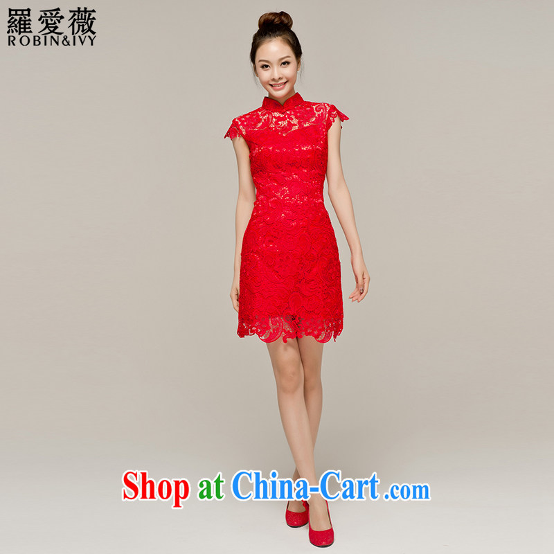 Paul love Ms Audrey EU Yuet-mee, RobinIvy) cheongsam toast service 2015 new stylish improved lace bridal wedding dresses Q 12,048 red short XL