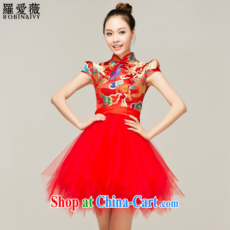 Paul love Ms Audrey EU _RobinIvy_ bows outfit serving New 2015 style improved cheongsam Q 12,052 red XL