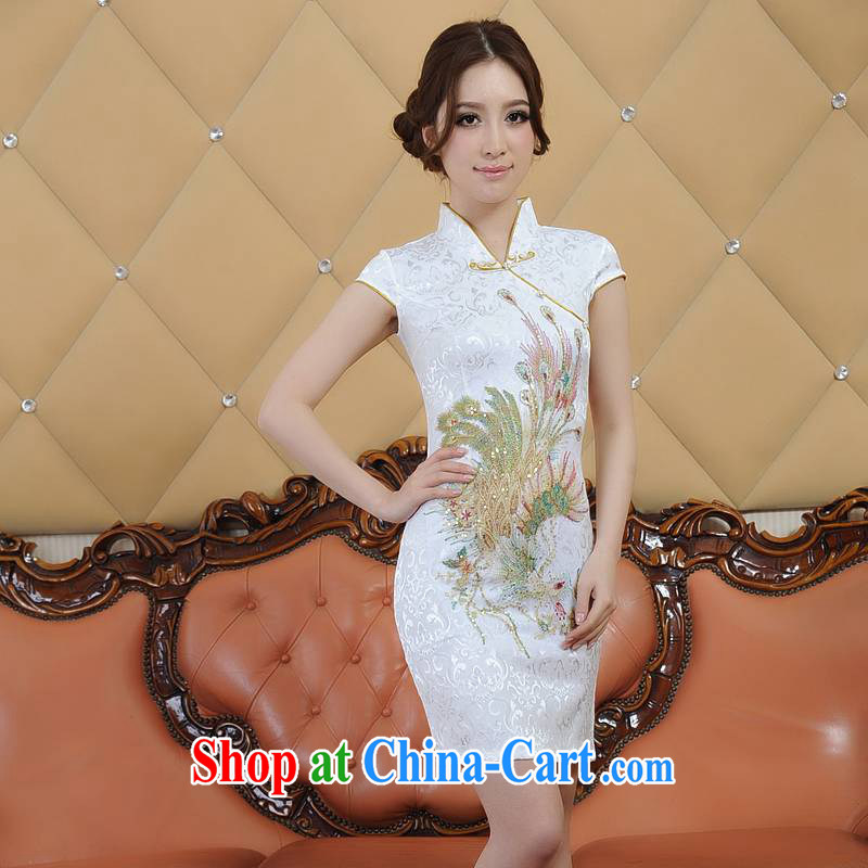 ADDIS ABABA, Ms Elsie Leung D, Ms. summer 2015 New New Product fine embroidery, antique Chinese wind dress short-sleeved qipao Q 22,066 yellow XXL