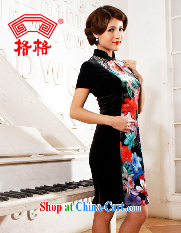 Princess poster wool stitching black modern day improved short cheongsam black 4XL
