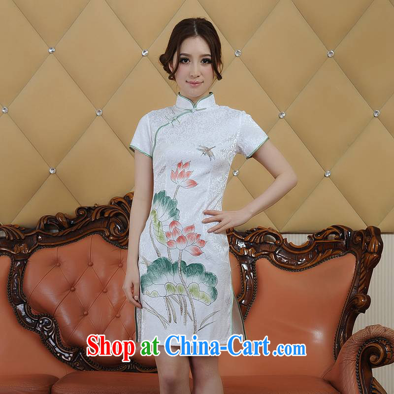 Addis Ababa poetry's 2015 girls summer New Products refined dyeing and printing retro short-sleeved dresses qipao Q 26,088 Lotus XXL