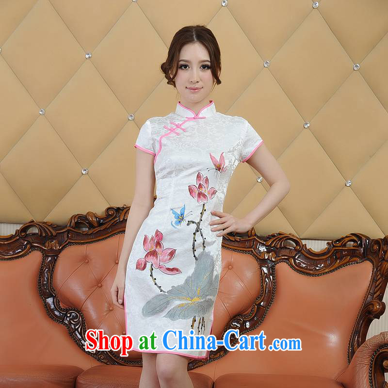 Addis Ababa poetry's summer 2015 new girls summer environmental dyeing retro short-sleeved dresses qipao Q 05,880 white XXL
