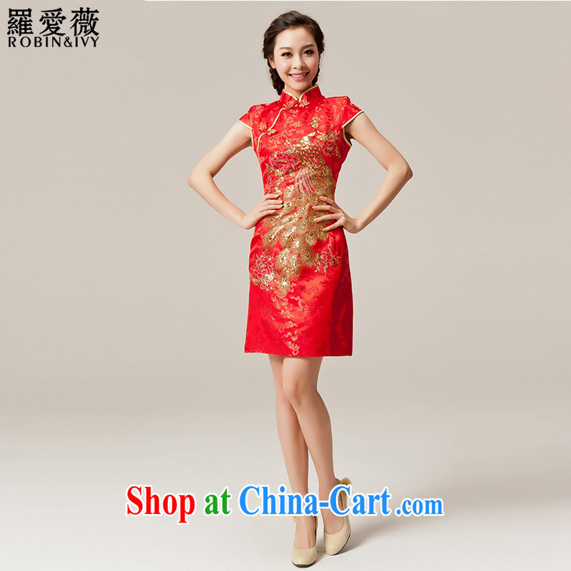 Paul love Ms Audrey EU (RobinIvy) cheongsam toast service 2015 new improved short cheongsam marriage Q 12,033 red L