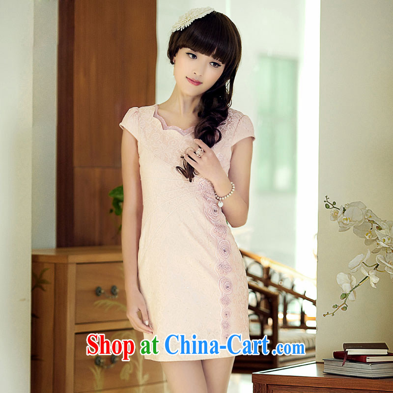 once and for all and fatally jealous tampered with 3 color retro style cheongsam dress summer dress outfit improved daily fashion beauty pink L