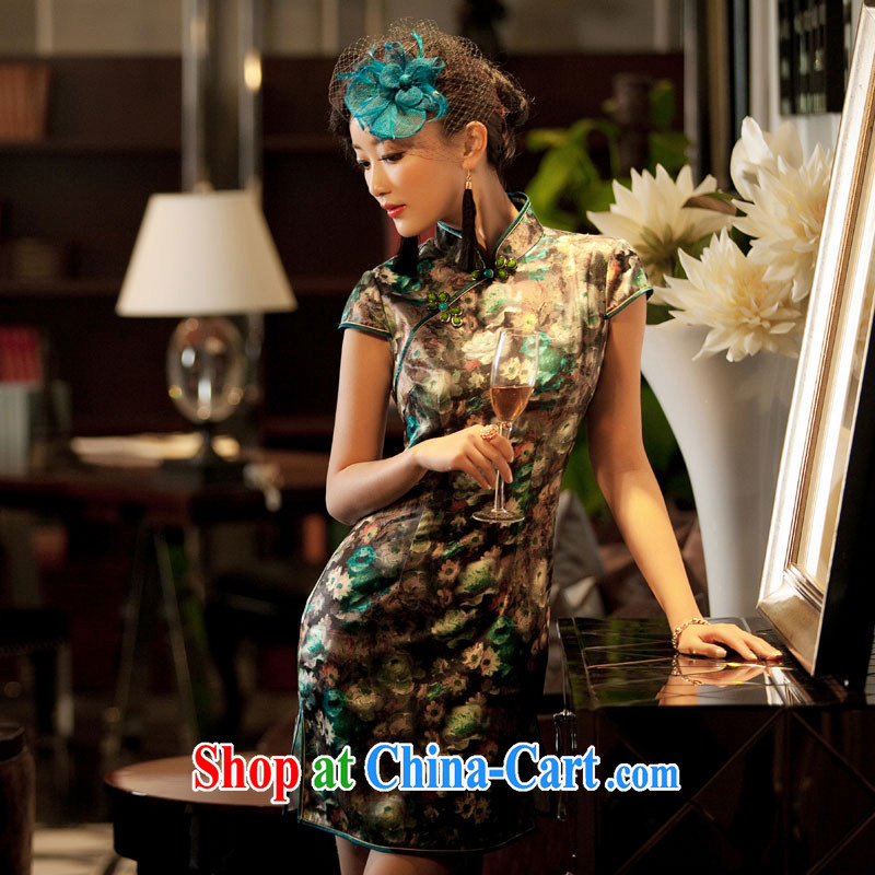 The proverbial hero once and for all as soon as possible to take tolerance 2015 summer new stylish improved retro short cheongsam 3D 006 T XL suit