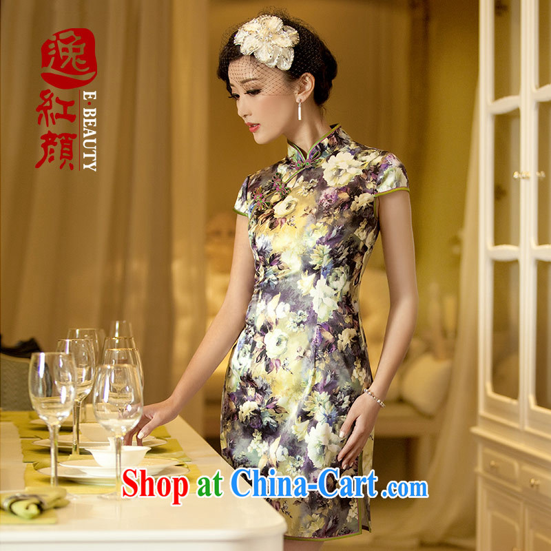 The proverbial hero once and for all as soon as possible take Mirage summer new stylish retro improved short cheongsam floral XL
