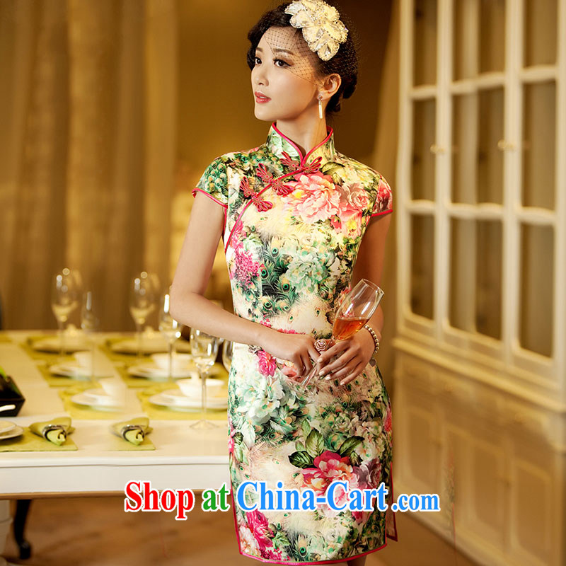 The proverbial hero once and for all -- flowers for improved Stylish retro short dresses summer 2014 new improved cheongsam dress suit 2 XL