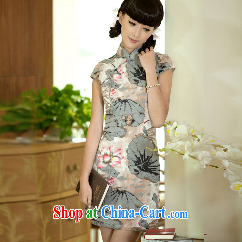 The proverbial hero once and for all water as soon as possible I would be grateful if you could draw summer new short cheongsam dress Stylish retro improved short-sleeved dresses such as the color M