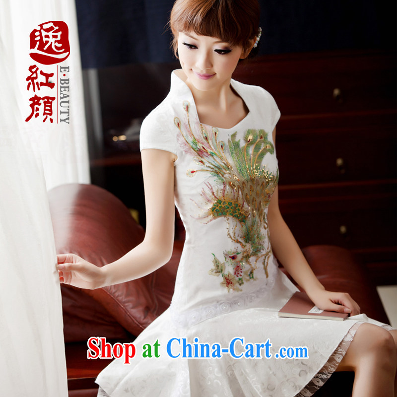 The proverbial hero once and for all -- White Phoenix 2015 China wind retro lace daily goods improved stylish Women's clothes cheongsam dress, summer white XL