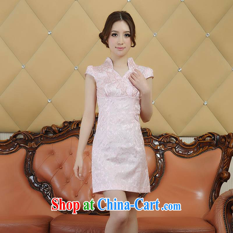 Addis Ababa poetry D, Ms. Xia new fine embroidered classic and elegant short-sleeved dresses short dresses and stylish summer dresses summer retro Q 00,228 pink XXL