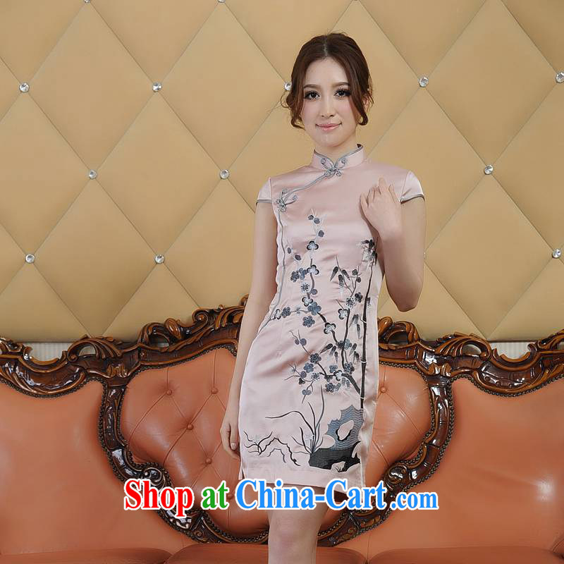 ADDIS ABABA, Ms Elsie Leung's summer 2015 new, stylish retro exquisite embroidery retro short-sleeved dresses short dresses bridal replacing Q 12,662 pink XXL