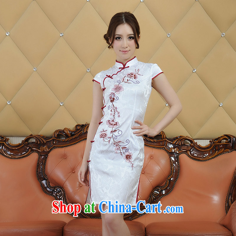 contemporary poetry's new summer, new products, exquisite embroidery silk retro short-sleeved dresses cheongsam black-and-white two-color Q 26,688 white燲XL
