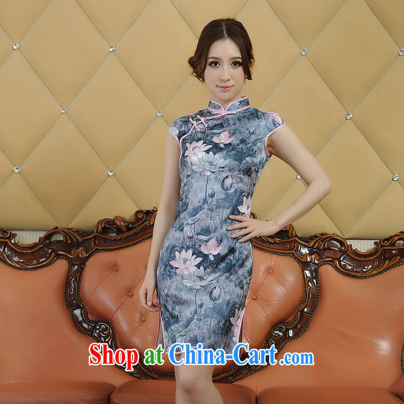 ADDIS ABABA, Ms Elsie Leung's summer 2104 new environmentally friendly dyeing, Retro classic short-sleeved dresses qipao Q 20,086 gray XXL