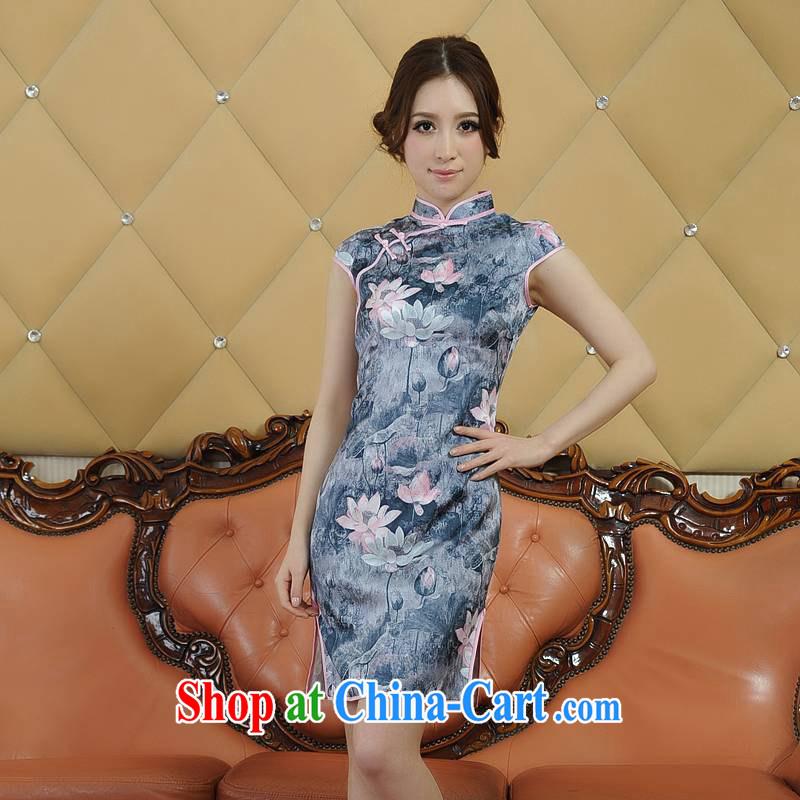 ADDIS ABABA, Ms Elsie Leung's summer 2104 new environmentally friendly dyeing, Retro classic short-sleeved dresses qipao Q 20,086 gray XXL
