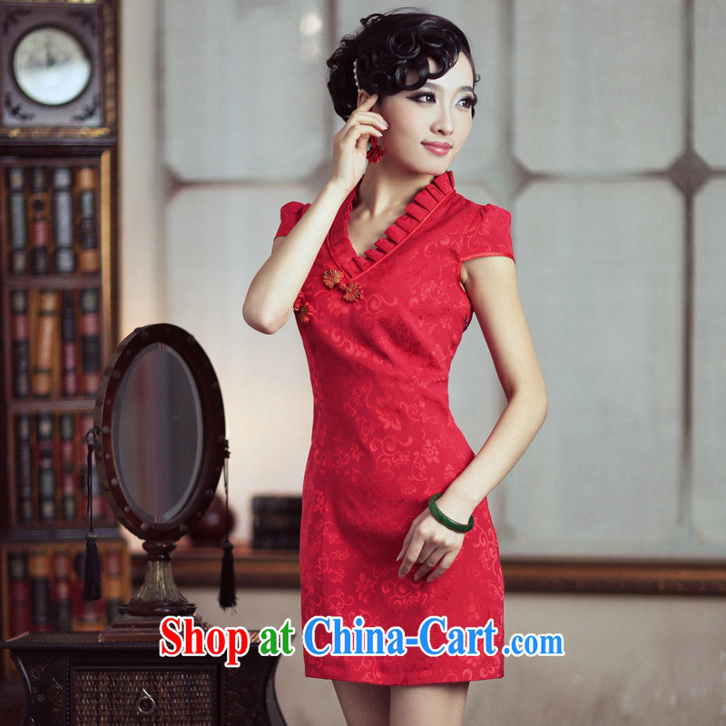 Bird lovers of spring 2015 NEW Improved short-sleeve cheongsam dress elegant wedding dress bridal toast serving red QD 189 red XXL