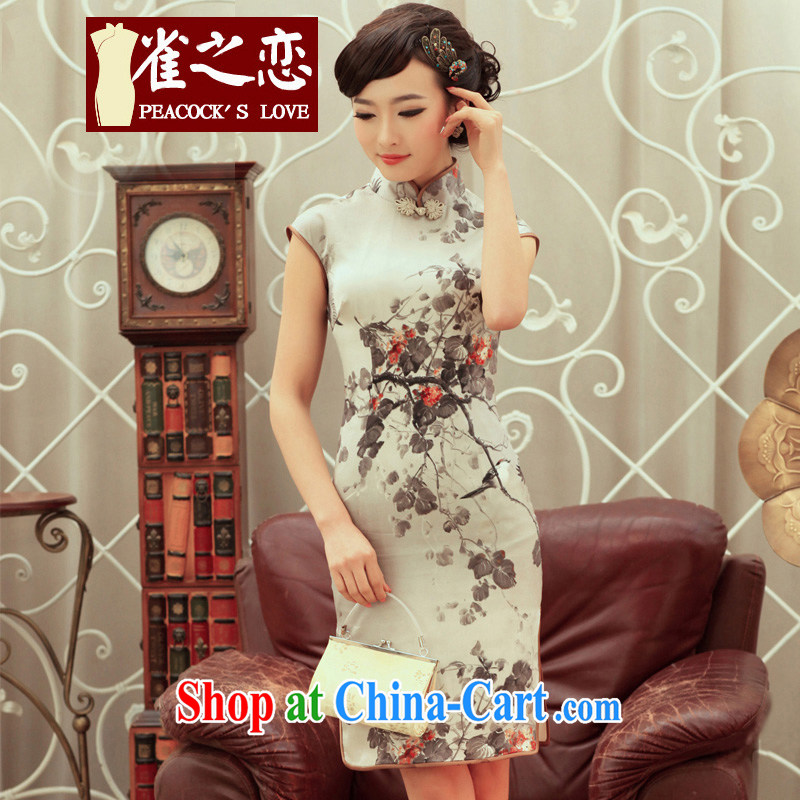 Birds love the dye 2015 spring new stylish improved quality silk cheongsam dress QC 236 dark gray XL