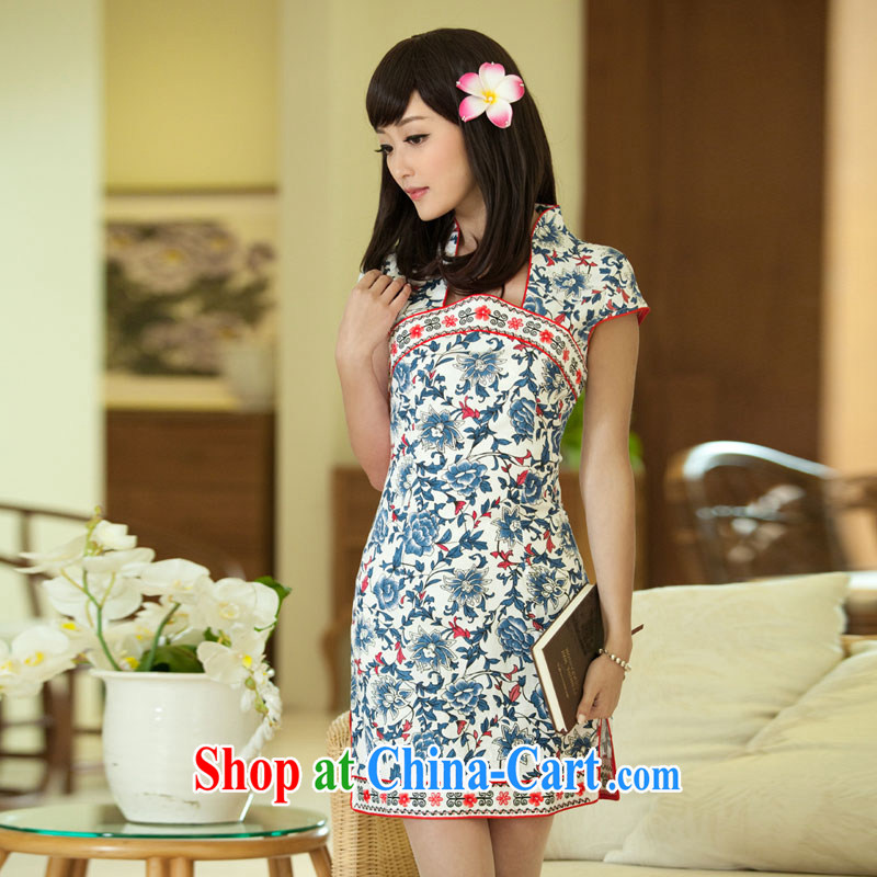 The proverbial hero once and for all -- blue and white porcelain China wind girls summer dresses skirts stylish improved cheongsam ethnic wind ID candled 135 2 XL