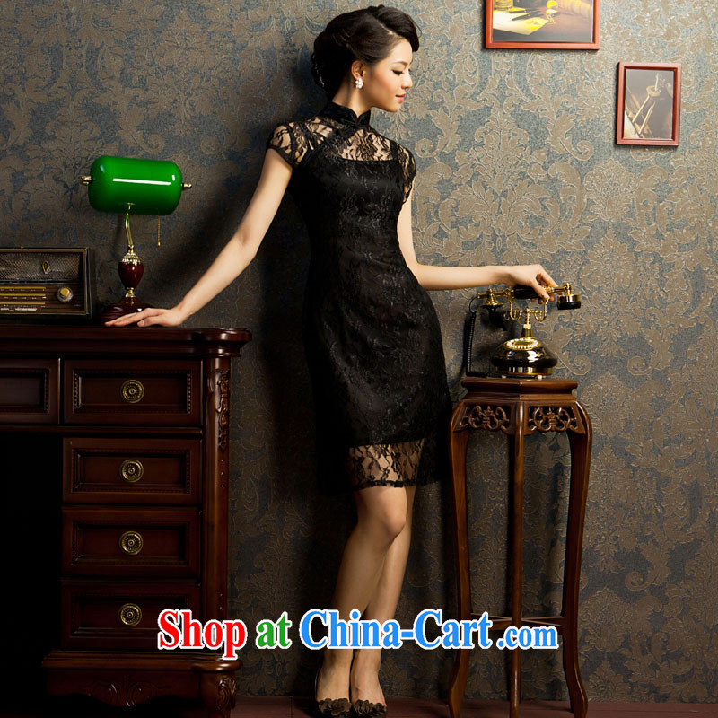 If the Red Cross black lace dress decorated in summer, short-sleeved NEW GRAPHICS thin improved cheongsam black L