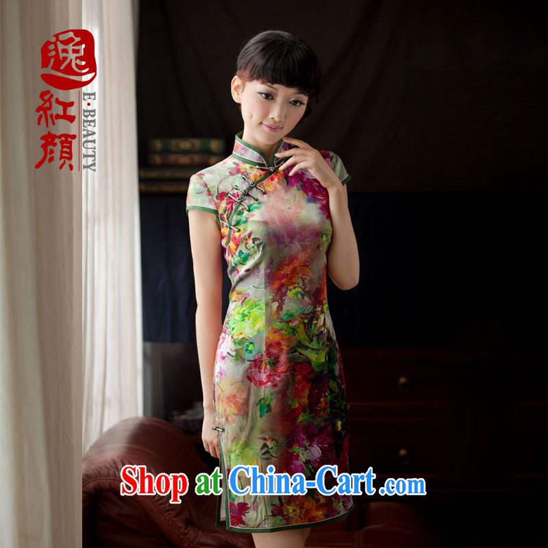 The proverbial hero once and for all as soon as possible epidemic spreading Chongna Ethnic Wind female China wind improved stylish upmarket Silk Cheongsam floral 2 XL