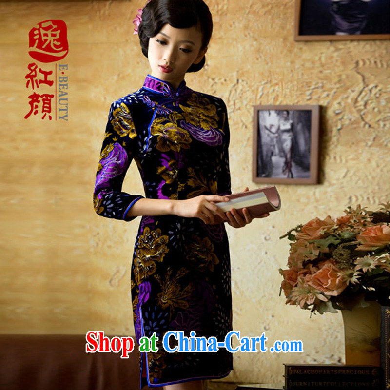The proverbial hero once and for all -- Aloeswood upscale Silk Velvet cheongsam retro improved stylish silk dresses, long-sleeved red L
