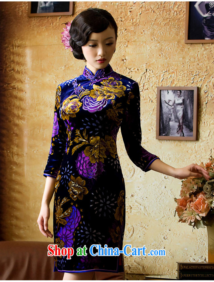 The proverbial hero once and for all -- Aloeswood upscale Silk Velvet cheongsam retro improved stylish silk dresses, long-sleeved red L pictures, price, brand platters! Elections are good character, the national distribution, so why buy now enjoy more preferential! Health