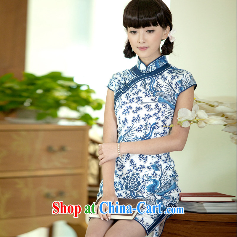 The proverbial hero once and for all as soon as possible would be the blue and white porcelain dresses new improved Stylish retro cheongsam dress summer suit 2 XL
