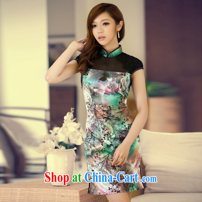The proverbial hero once and for all -- of the 2014 summer new, stylish retro improved short qipao D 3 023 green M