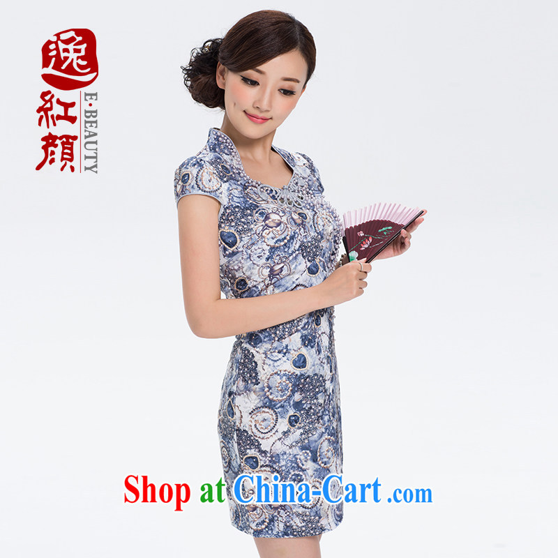 The proverbial hero once and for all as soon as possible _ 2015 summer dress new stylish beauty retro short daily outfit skirt D 2 033 blue floral S