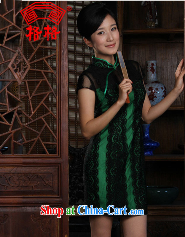 Autumn Princess new stylish beauty small incense shoulder lace short cheongsam improved green 3 XL