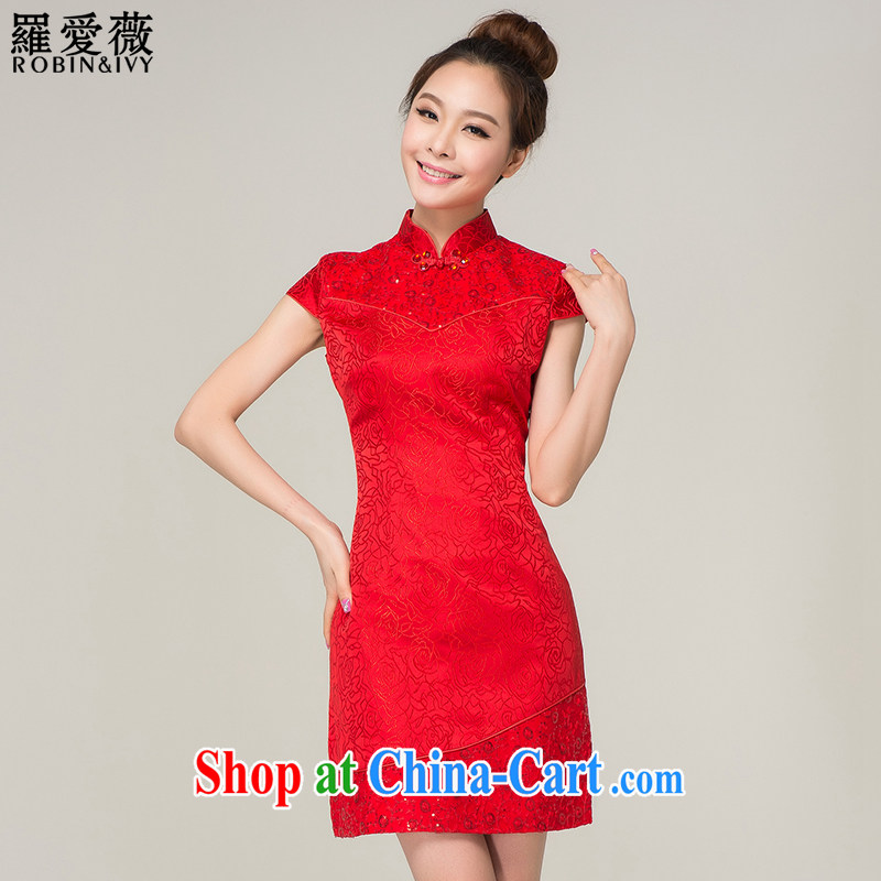 Paul love Ms Audrey EU _RobinIvy_ cheongsam toast service 2015 new marriages, short improved lace dress Q 13,624 red L