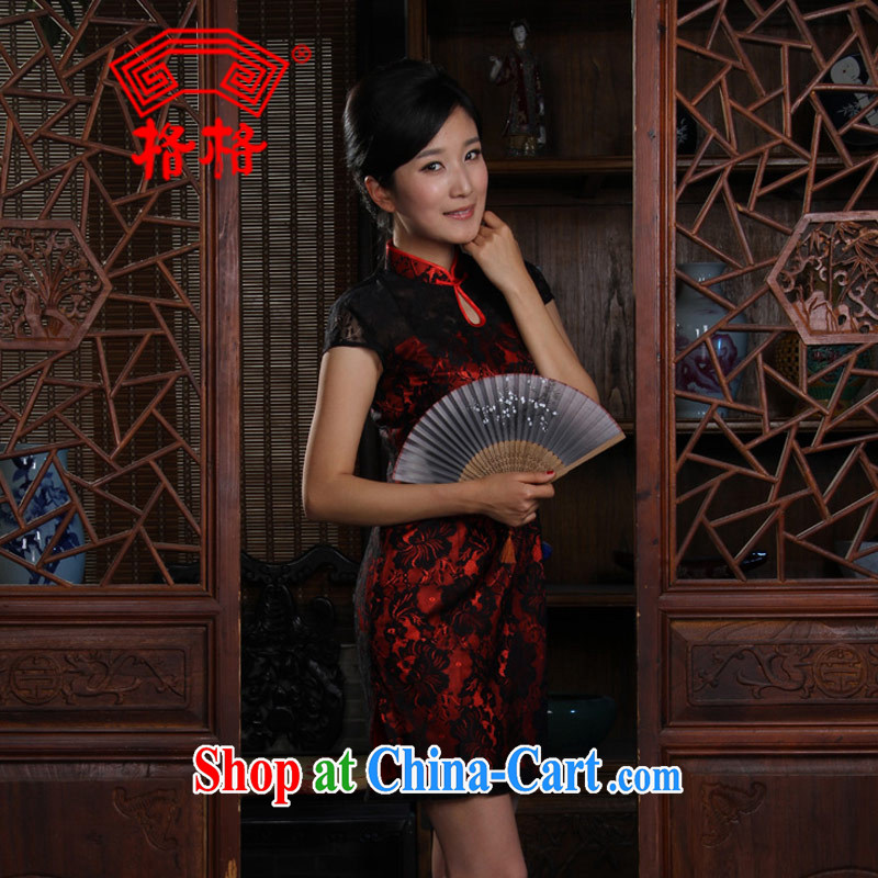 Princess small Hong Kong shoulder lace short cheongsam black 3 XL