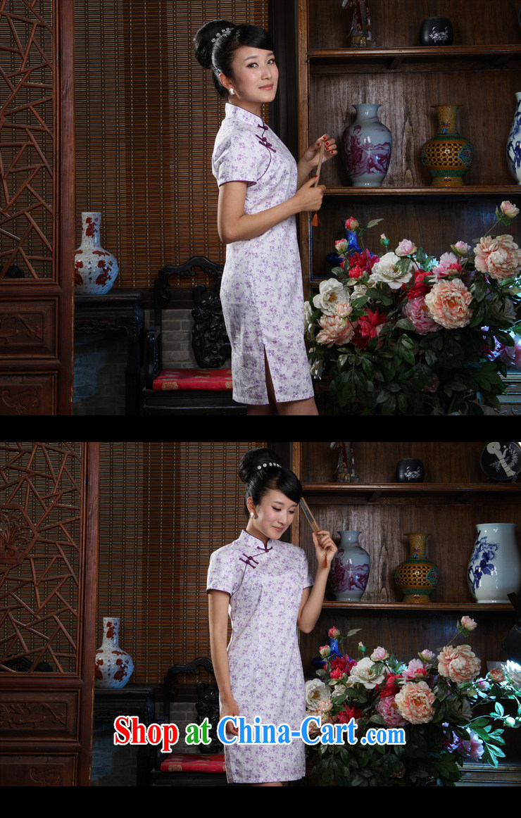 Huan Zhu Ge Ge cotton stamp Ya Xiu short cheongsam purple 3XL pictures, price, brand platters! Elections are good character, the national distribution, so why buy now enjoy more preferential! Health