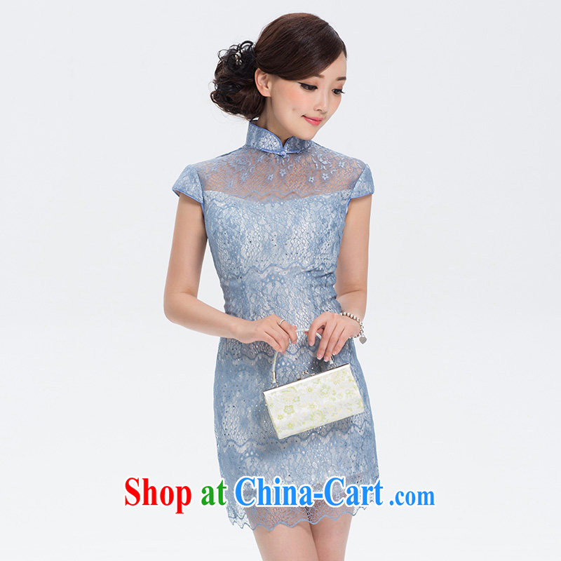 The proverbial hero once and for all -- Panelists requested improved Stylish retro lace dresses 2015 new improved cheongsam dress summer blue 2 XL