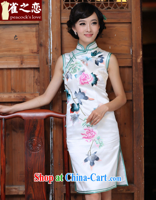 Birds of the land in 10 Cuiwei heavy silk plain manually, for a sleeveless embroidered a flap cheongsam QD 326 white XXL