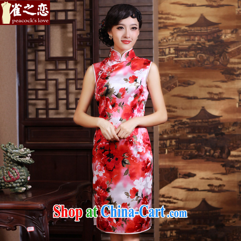 Bird lovers of good quality 100% silk improved facade Lotus stylish daily short sleeveless dresses QD 187 dark pink XXXL