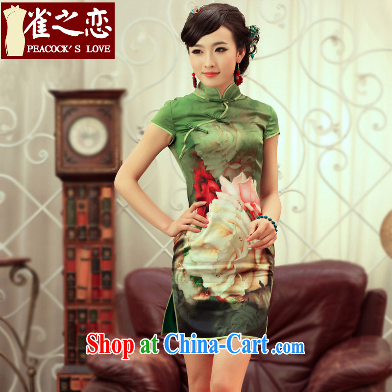 One of birds, Orioles 2015 spring new improved stylish short-sleeve cheongsam dress high-end Silk Cheongsam QD 247 green XXL